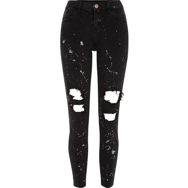 River Island Black ripped paint Alannah relaxed fit jeans ($90) ❤ liked on Polyvore featuring jeans, bottoms, pants, black, skinny jeans, women, relaxed fit jeans, ripped jeans, destroyed jeans and distressed jeans