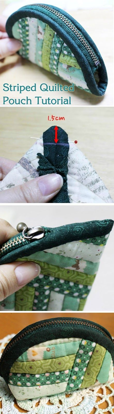 This zip pouch is made with scraps sewn together to form panels, DIY Tutorial. Кошелек на молнии http://www.handmadiya.com/2015/09/striped-quilted-pouch-tutorial.html