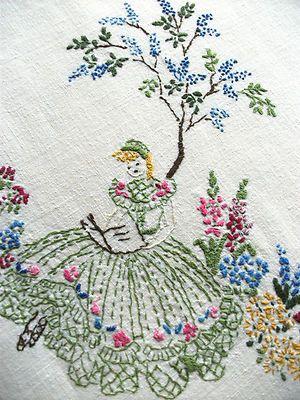 "Vintage Hand Embroidered Tablecloth CRINOLINE LADIES READING BOOKS 43"" x 43"""
