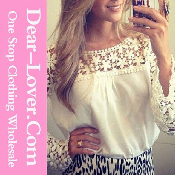 groothandel witte kant gesplitst off shoulder chiffon top geïmporteerd dameskleding-Plus size shirts& blouses-product-ID:60260536754-dutch.alibaba.com