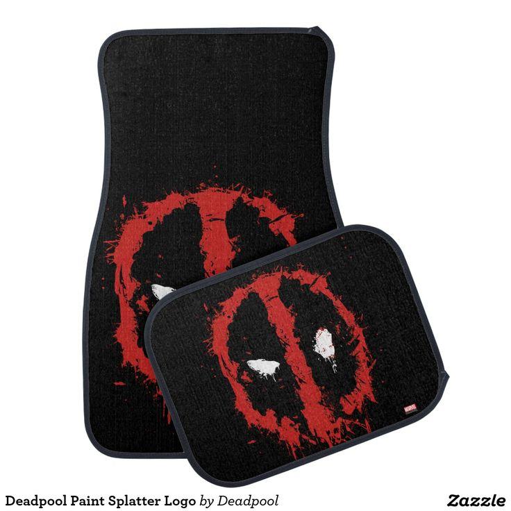 Deadpool Paint Splatter Logo - Car Floor Mats and Automobile Accessories