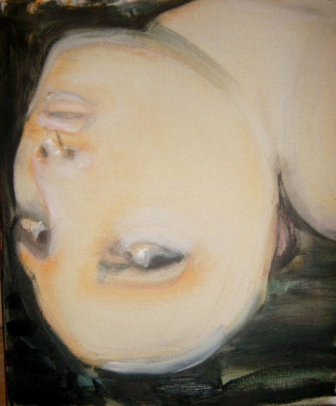 Angelique - 2004 - by Marlene Dumas (South African, b. 1953) - Oil on canvas - 60x50cm. - Frith Street Gallery - http://www.frithstreetgallery.com/shows/works/angelique1