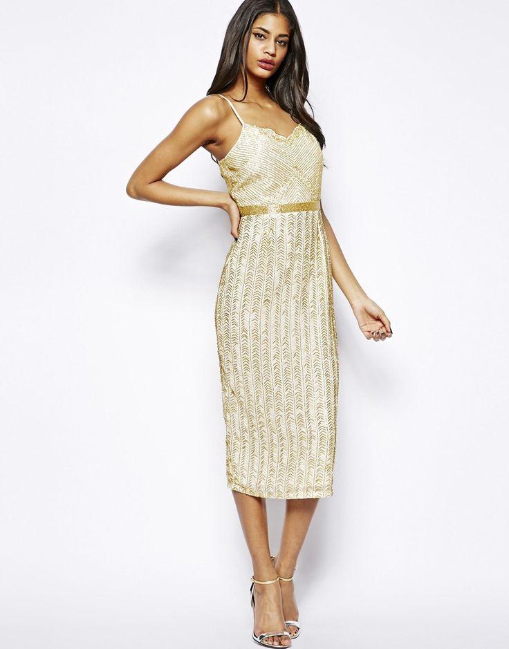 Virgos Lounge Roanna Cami Midi Dress in All Over Embellishment