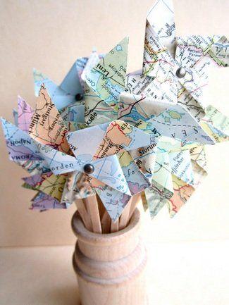 Atlas map pinwheels for wedding decor, garlands and cake toppers | Pinwheel Wedding Ideas | Confetti Daydreams ♥  ♥  ♥ LIKE US ON FB: www.facebook.com/confettidaydreams  ♥  ♥  ♥ #Wedding #WeddingTrends #Pinwheels