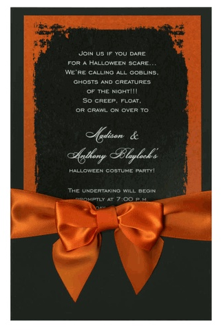 Eerie Grunge Frame Black Orange With Bow Invitations By Ib Designs Invitation
