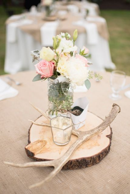 Rustic country centerpiece coral dusty miller elk antler
