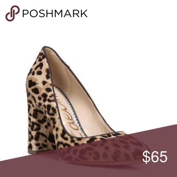 "Sam Edelman Stillson Leopard Brahma Calf Hair Pump Super cute pair of Sam Edelman Stillson Pumps. Real printed brahma calf hair upper, padded footbed. 3"" covered block heel. In excellent pre-worn condition. Size 10 US 40 Eur. No trades! Sam Edelman Shoes Heels"