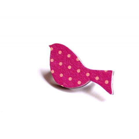 Pink Madár - kitűző - Woody kollekció, vadjutka, meska.hu