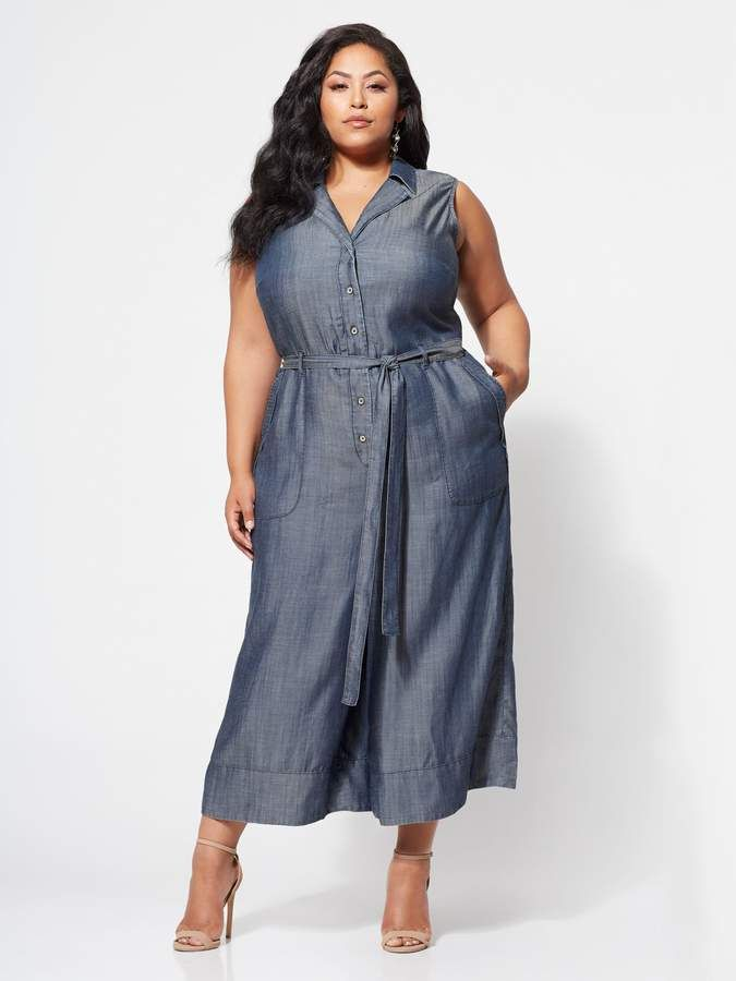 50f1d3ff74 New York & Company Gabrielle Union Collection - Plus Ultra-Soft Chambray  Jumpsuit