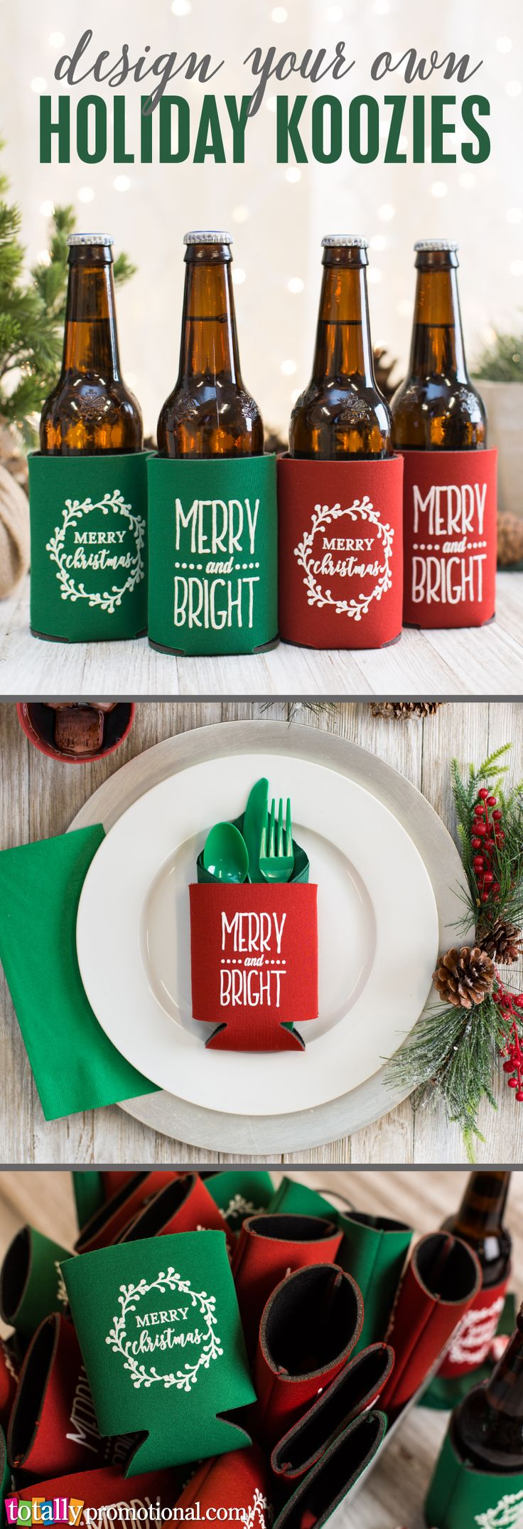 Everyone will be jolly with a Christmas can or bottle cooler for their favorite holiday drink! Choose a festive template from our Design Ideas gallery or upload your own!