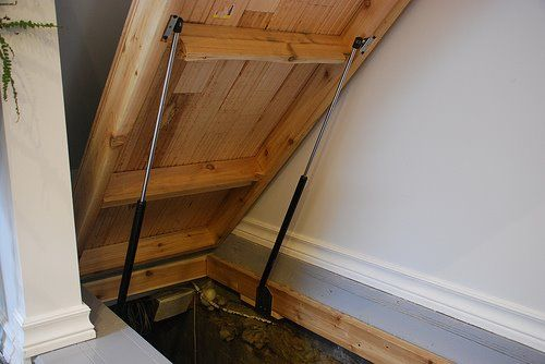 Secret floor hatch door too basement need this for the bungalow note struts to assist - Cellar door hinges ...