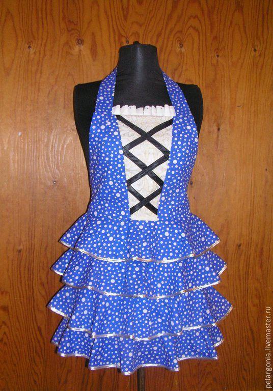 """Купить Фартук женский """"Синий горошек""""(воланы, корсет, юбка с воланами) - женский фартук, подарок женщине"""