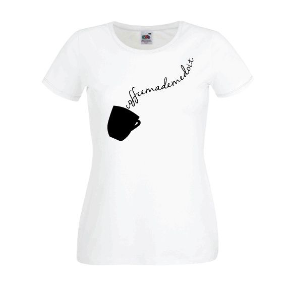 Dames | Lady-fit tshirt Coffee made me do it (613820/780)