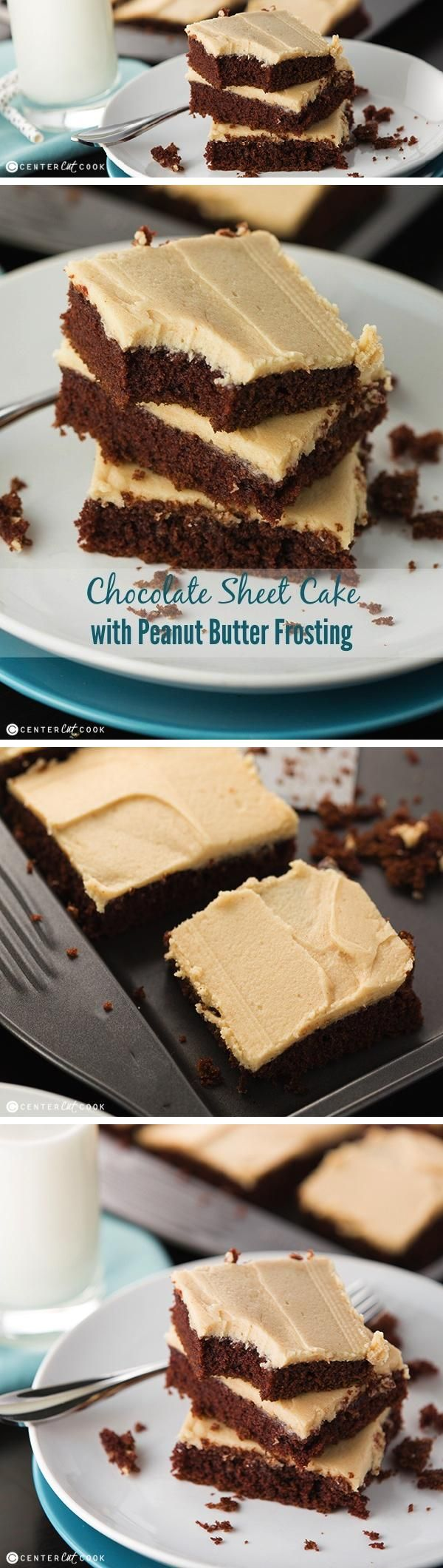 CHOCOLATE SHEET CAKE Recipe make from scratch only requires 20 minutes to bake, and no mixer required! Topped with the most decadent PEANUT BUTTER FROSTING, this chocolate cake is hard to resist.