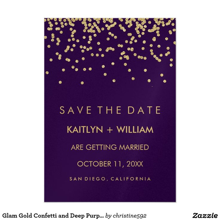 We love this glam, gold and purple wedding save the date invitation! Lots of stylish faux gold confetti and a deep purple background that is modern and elegant.