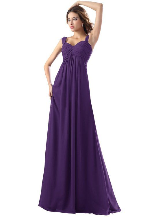 582f5c9d373b Dark Purple Modest Empire Thick Straps Zipper Floor Length Ruching Prom  Dresses