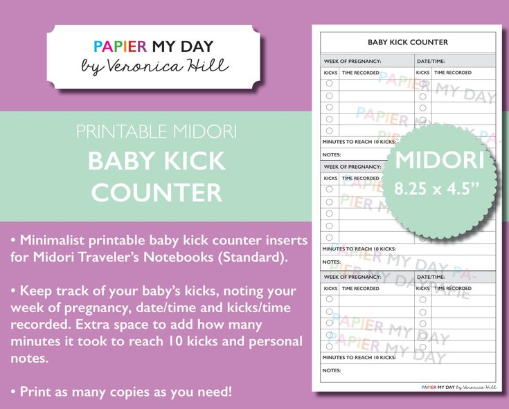 Travelers Notebook Baby Kick Counter Printable - Printable Baby Kick Counter for MTN New Item from Papier My Day