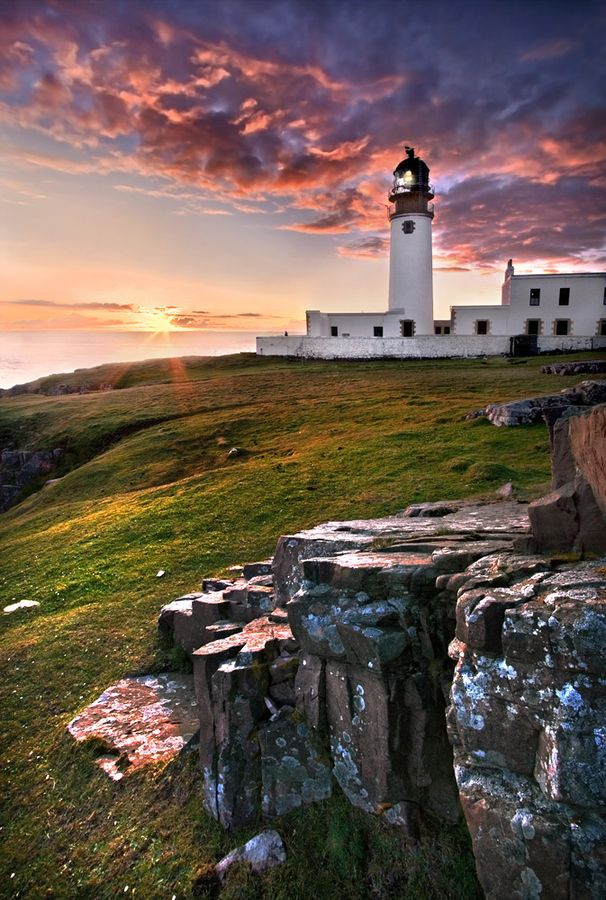 Rua Reidh Lighthouse, is situated on a remote peninsula on the West Coast of Sutherland at the entrance to Loch Ewe in the Northwest Scottish Highlands.