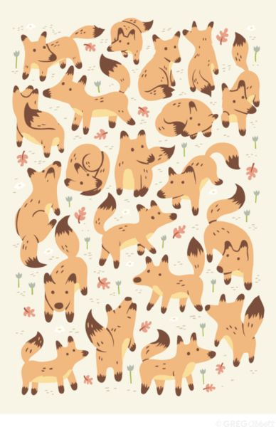 """""""A feast of Foxes"""" ~ Graphic, Color, Form... All adorable!"""