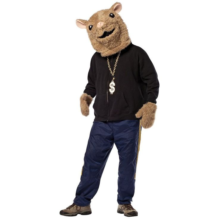 LOL!! This hamster costume includes a full overhead hamster mask and matching plush hamster gloves. The shirt, chain and pants are not included with this funny hip hop hamster costume. Hamster Costume Set.