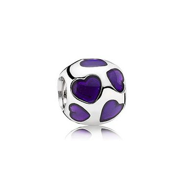 Dark Purple Enamel Heart Silver Charm  £45