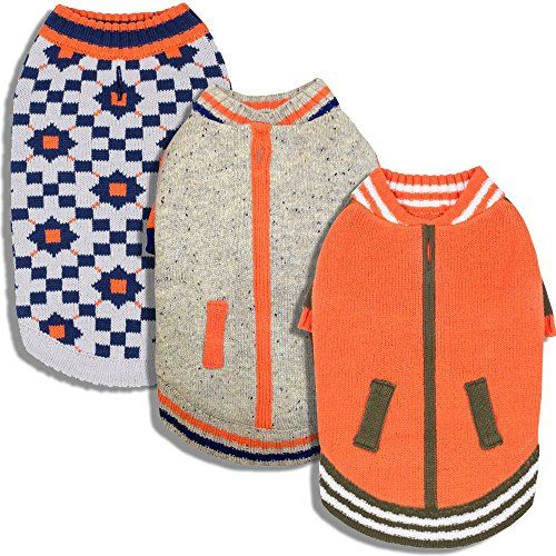 "Blueberry Pet Chic Dog Sweater with Vintage Octagons and Squares Back Length 12"" Pack of 1 Clothes for Dogs"