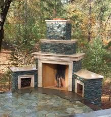 Outdoor Stone Fireplace Warming Up Exterior Space   Traba .