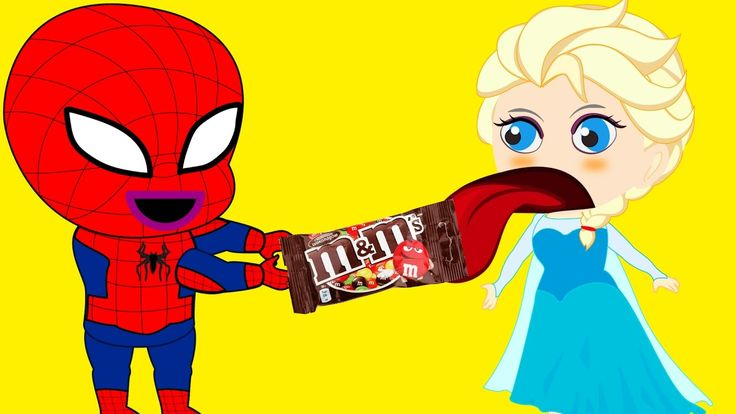 Spiderman and Frozen Elsa eat so much M&M Candy w Maleficent #Funny Story #Superheroes IRL