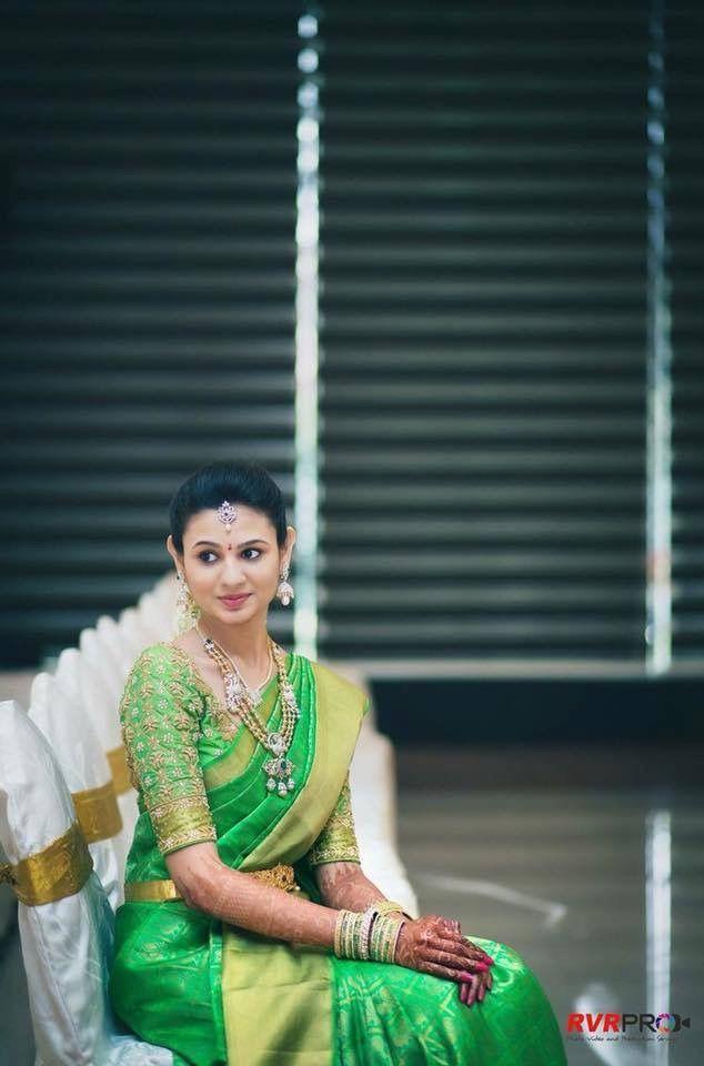 Green bridal silk saree