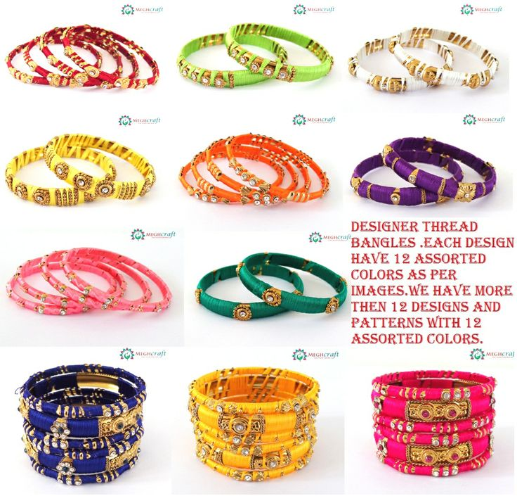 Designer Thread Bangles..Made of Copper Base metal Studded with stones & covered with Colorful silk thread assorted colors & Designs.. WWW.INDIANETHNICJEWELRY.COM