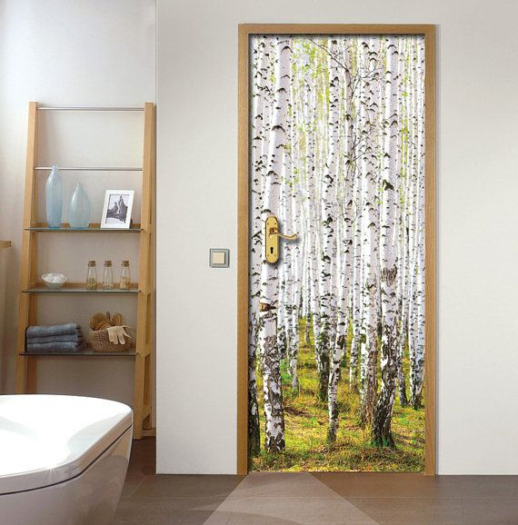 Wall decal door sticker birch forest self adhesive vinyl for Door vinyl design