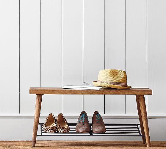 Lucy Mango Wood Shoe Rack With Bench Wood Shoe Rack Diy