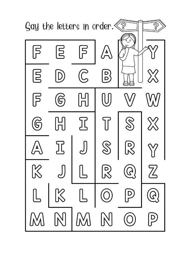 Alphabet Maze English Unite Alphabet Worksheets Preschool Phonics Worksheets Abc Worksheets Maze worksheets for kindergarten