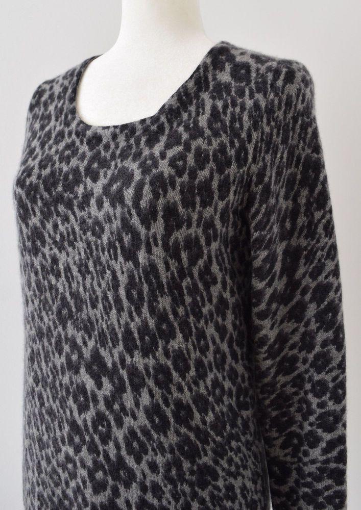 WHITE + WARREN Women's Gray Cashmere Animal Leopard Print Sweater Jumper Size XL #WhiteWarren #Crewneck