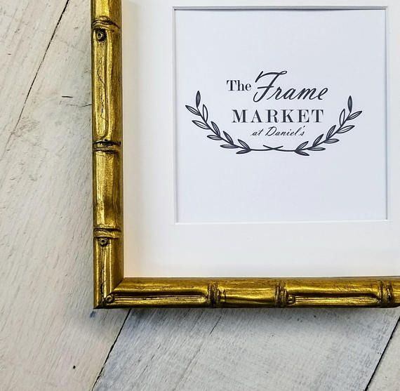 Bamboo Gold Picture Frame With White Mat 8x10 9x12 11x14 14x16 16x20 Standard Custom Sizes Available Cornici