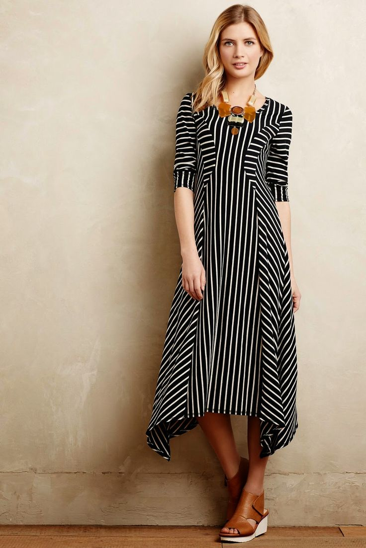 Modest black and white stripe dress with sleeves | Shop Mode-sty #nolayering