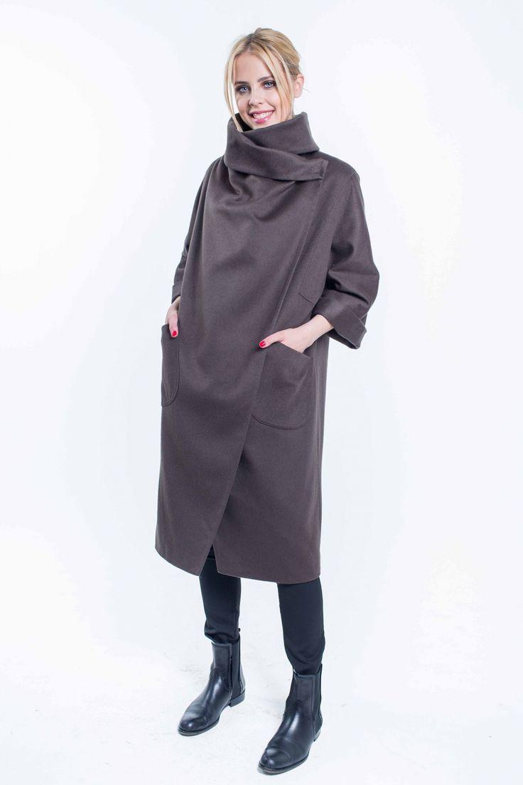 Женское пальто оверсайз с каскадной драпировкой SUCCESS - NEW Коллекция пальто осень-зима 2015-16 - Success