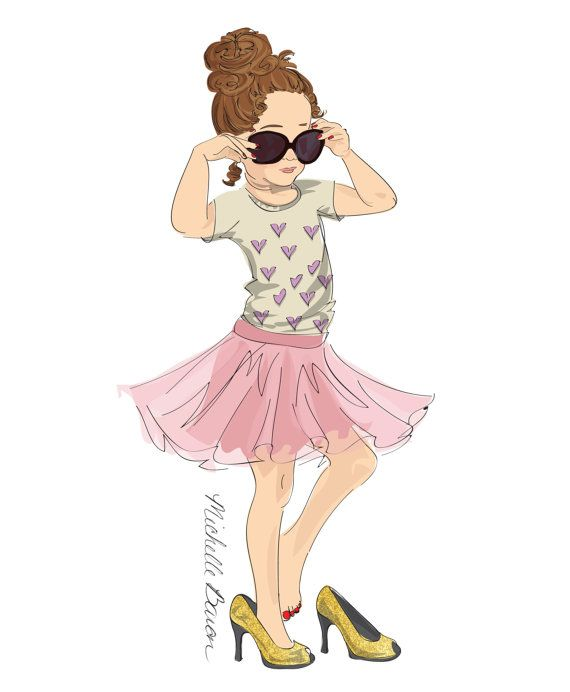 11 by 14 Children's Fashion Illustration, Wall Art, Art Print, little girl…