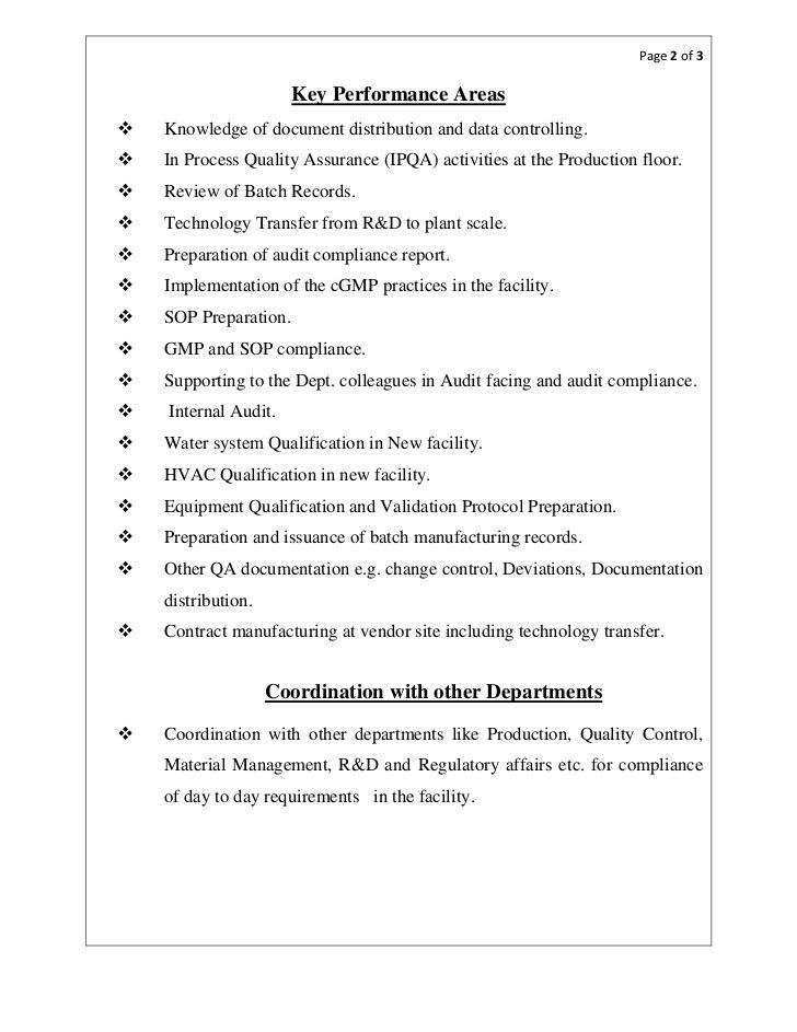 Resume Format Quality Assurance Pharma Resume Format