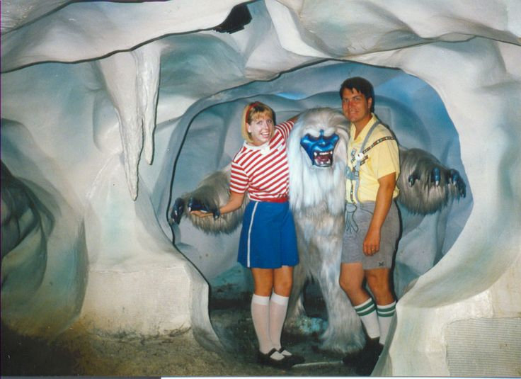 A few Disneyland cast members pose with the abominable snowman inside the Matterhorn - date unknown, but I'd guess at the 1990's
