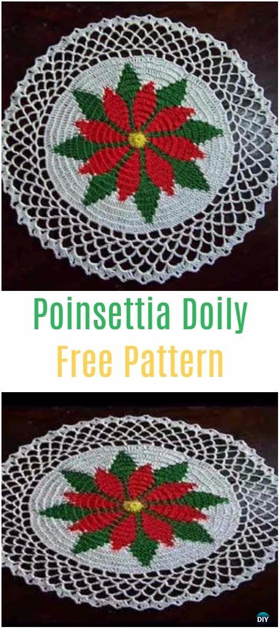 Crochet Christmas Poinsettia DoilyFree Pattern - Crochet Doily Free Patterns