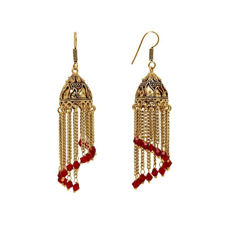 Oxidised gold plating bollywood indian ethnic jhumka earring jewellery GSE187MRN