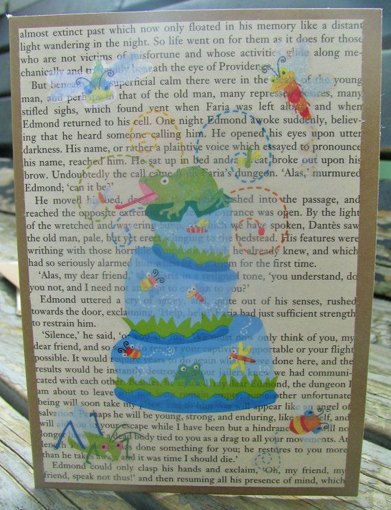 Froggy Fun  handmade card recycled materials by RogueKissedCraft