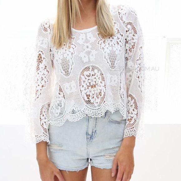 Esther Boutique Lace Crop Top NWOT, never worn. Could fit small-medium. Australian size 10 equals US size 6 or small Esther Boutique Tops Crop Tops