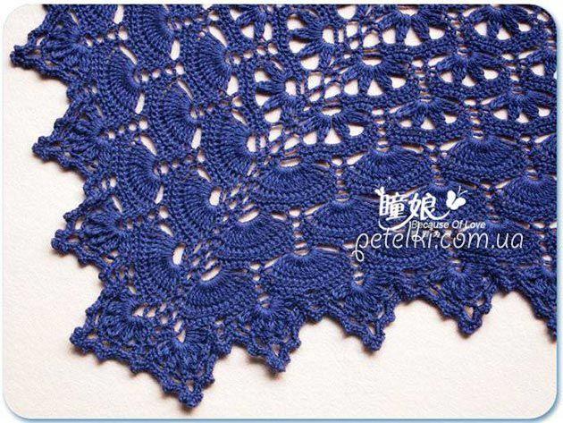 Красивая синяя шаль крючком. Схема вязания
