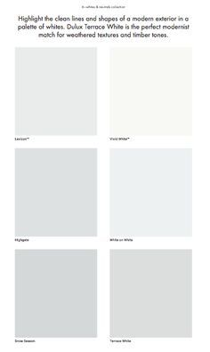 Dulux shades of grey - Lexicon, Highgate, Snow Season, Terrace White dda4b818faa3886a97ab5ba53cdd245f.jpg (236×396)