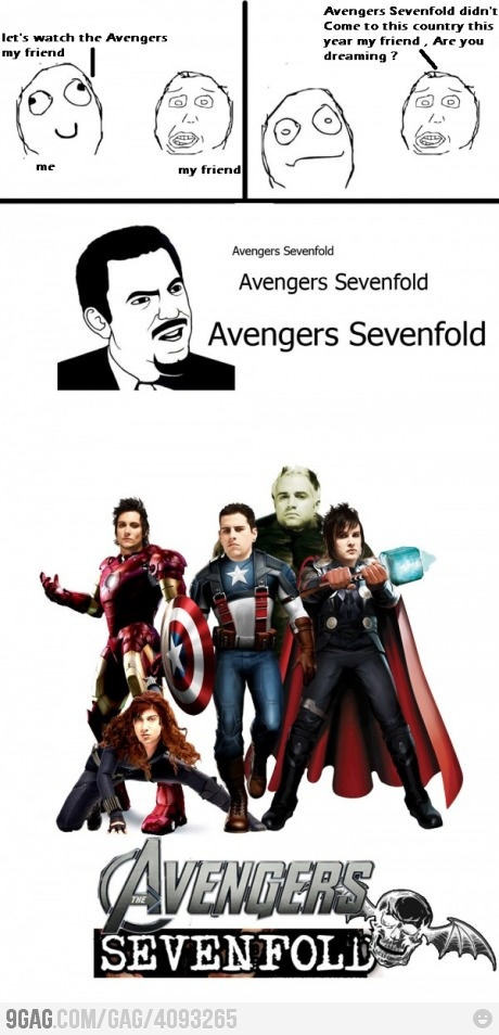 Avengers Sevenfold ?! This is kinda creepy but funny lol