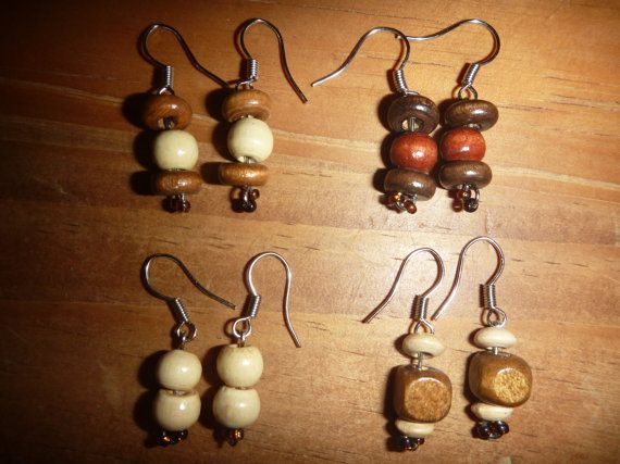 Wood Bead EaringsYou Chose Colour Shape & by BurrowsOfAccessories, $5.00