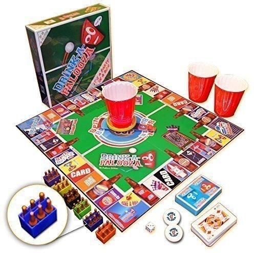 "DRINK-A-PALOOZA: The ""Monopoly"" of Drinking Games Board Games Party Games & Bachelorette Party Gifts featuring Kings Drinking Games Beer Pong & Flip Cup"