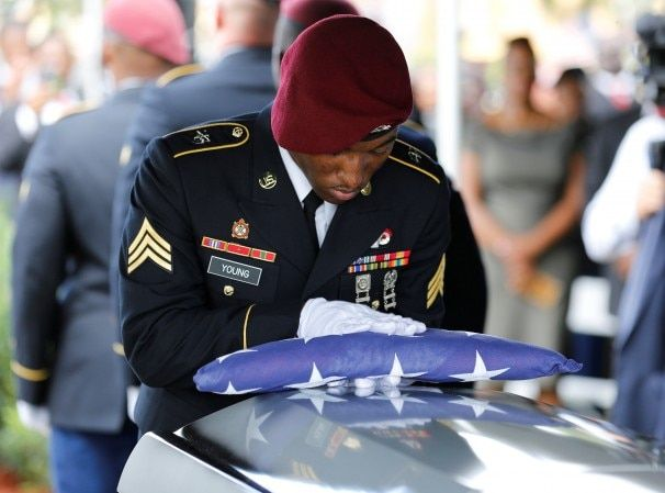 """Breaking her silence about condolence call, Myeshia Johnson said Trump made her cry, but the president insisted he was """"very respectful."""""""